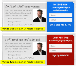 email pop up tests