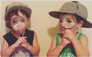 Sherlock Holmes kids with magnifying glasses
