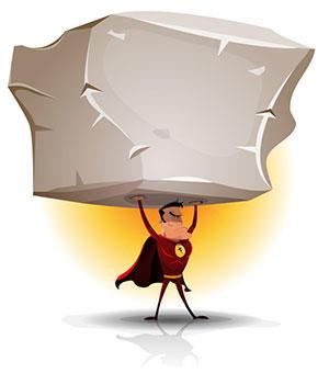 superhero holding up large boulder
