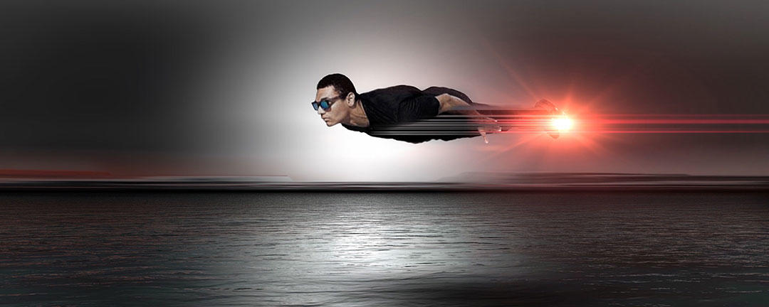 superhero flying fast over the sea