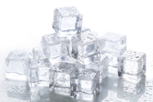 Ice cubes on a table